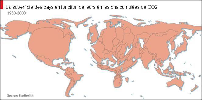 Les émissions cumulées de carbone entre 1950 et 2000, par pays