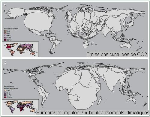 Comparaison des émissions cumulées de CO2 sur la période 1950-2000 et de la distribution régionale des effets des bouleversements climatiques en matière de santé (Source : Managing the health effects of climate change)